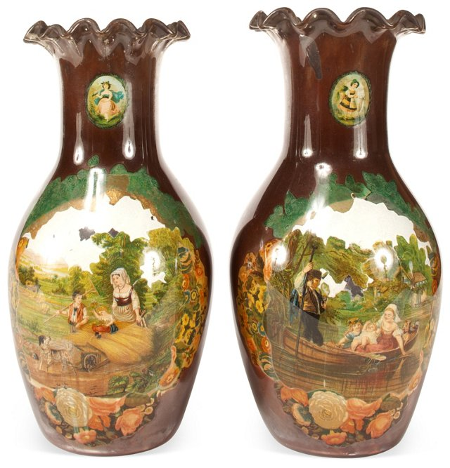 Victorian Back-Painted Vases, Set of 2