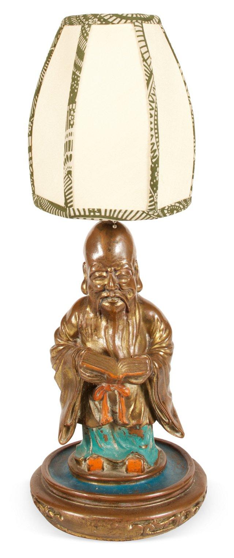 Painted Bronze Chinese Scholar Lamp
