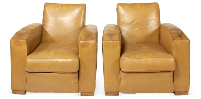 Leather Chairs, Set of 2