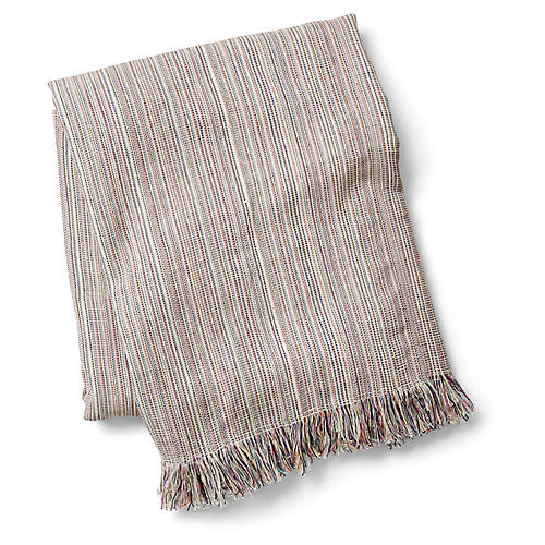 Summer Fringe Beach Blanket, Beige/Multi