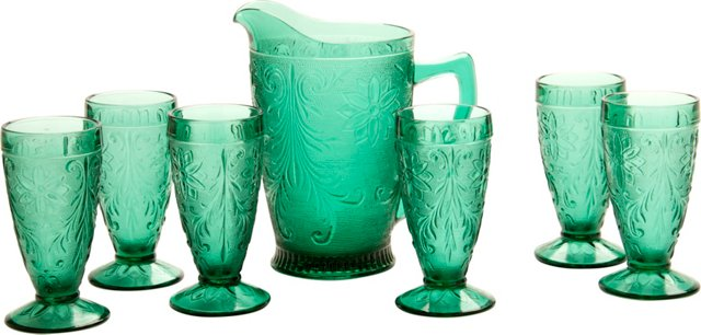 Pressed-Glass Pitcher & Glasses, 7 Pcs