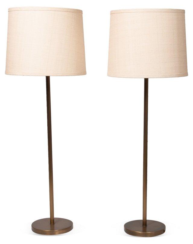 Bronzed Floor Lamps, Pair