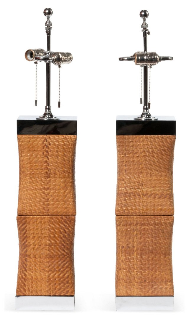 Woven Table Lamps, Pair
