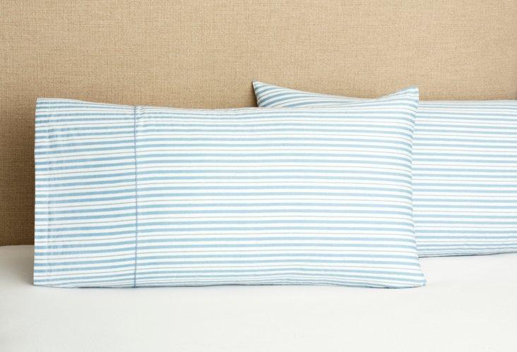 S/2 Gents Stripe King Pillowcases Indigo