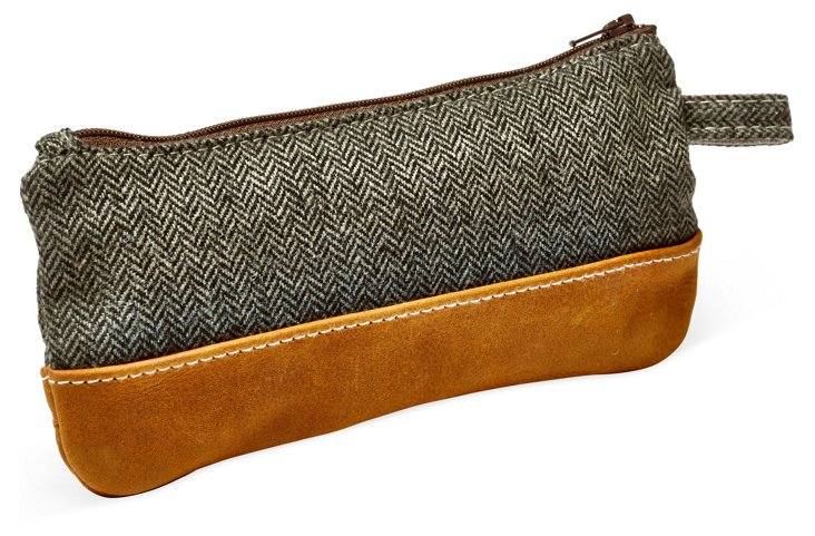 Leather Trimmed Gear Case, Herringbone