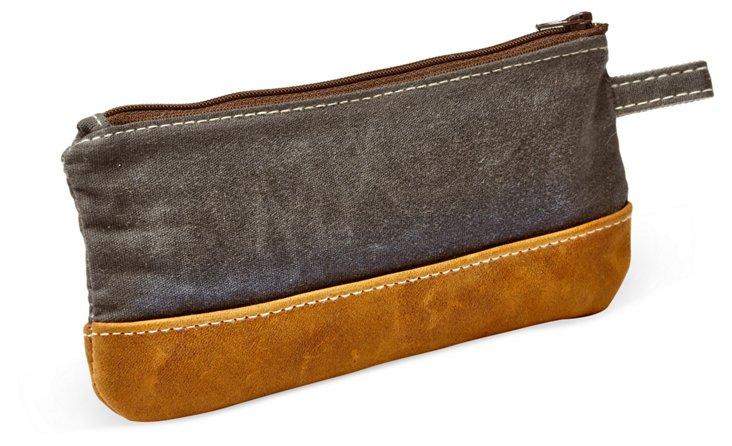 Leather Trimmed Gear Case, Slate/Tan
