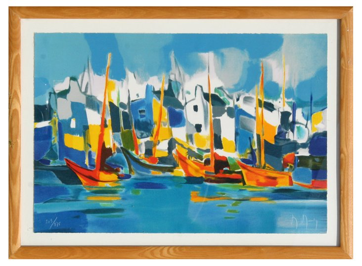 Marcel Mouly, Audierne, Lithograph