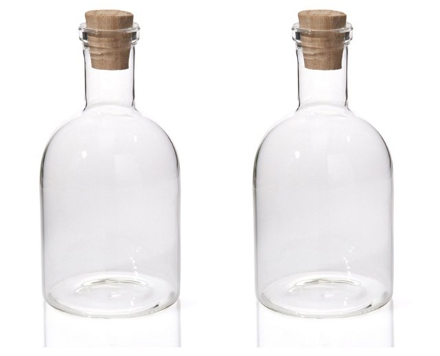 """S/2 7"""" Perfect Glass Bottles"""