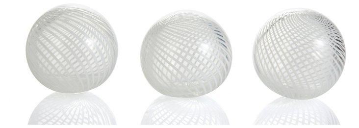 "S/3 3"" White Pirouette Globes"