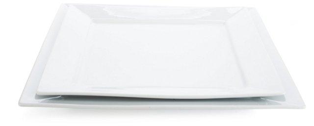 S/2 Quadro Porcelain Platters, Jumbo