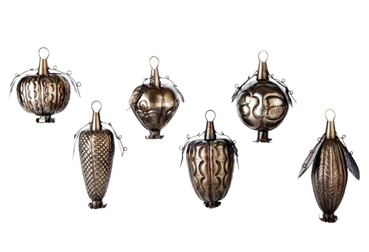 S/6 Jacobean Fruit Bell Ornaments