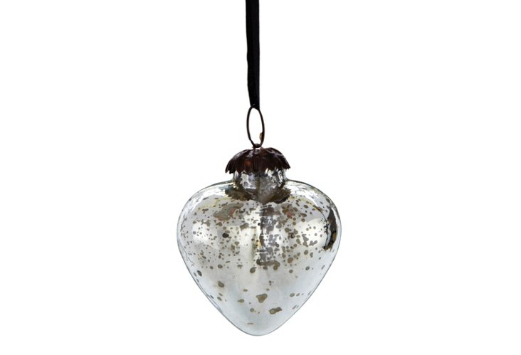 S/6 Small Mercury Glass Heart Ornaments