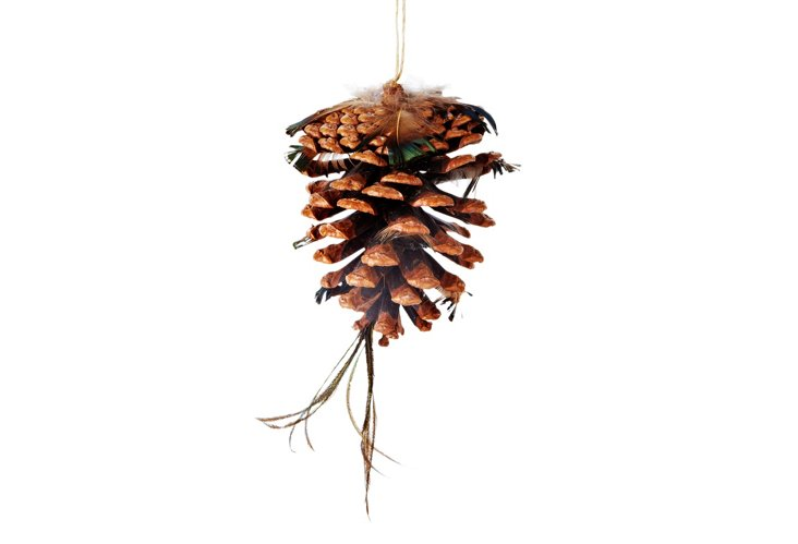 S/6 Medium Pinecone/Feather Ornaments