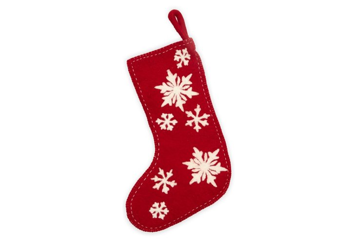 Red Snowflake Stocking w/ White Cutout