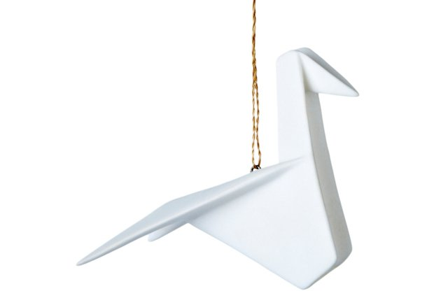 S/2 Porcelain Origami Swallow Ornaments