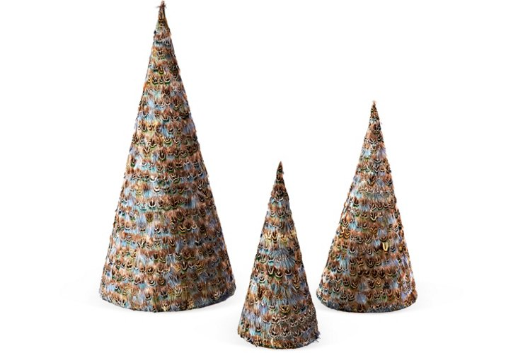 S/3 Feather Trees, Blue/Brown
