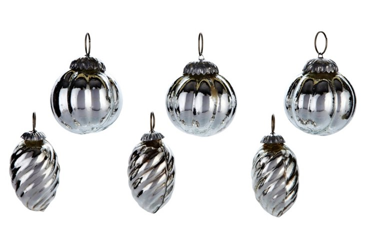 S/6 Mercury Glass Ornaments