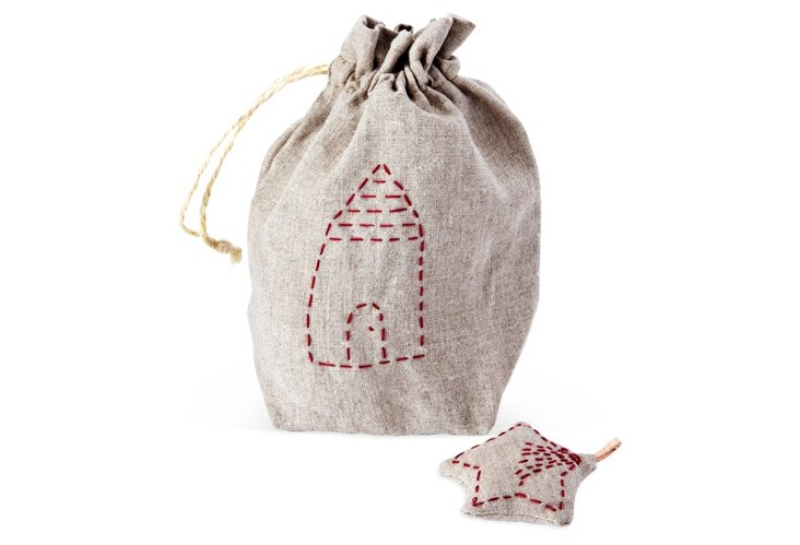S/12 Linen Holiday Village Ornaments