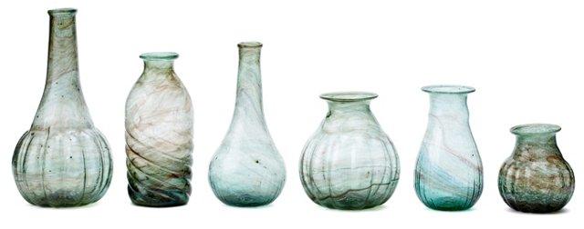 Asst. of 6 Alfia Marbled Vases, Blue