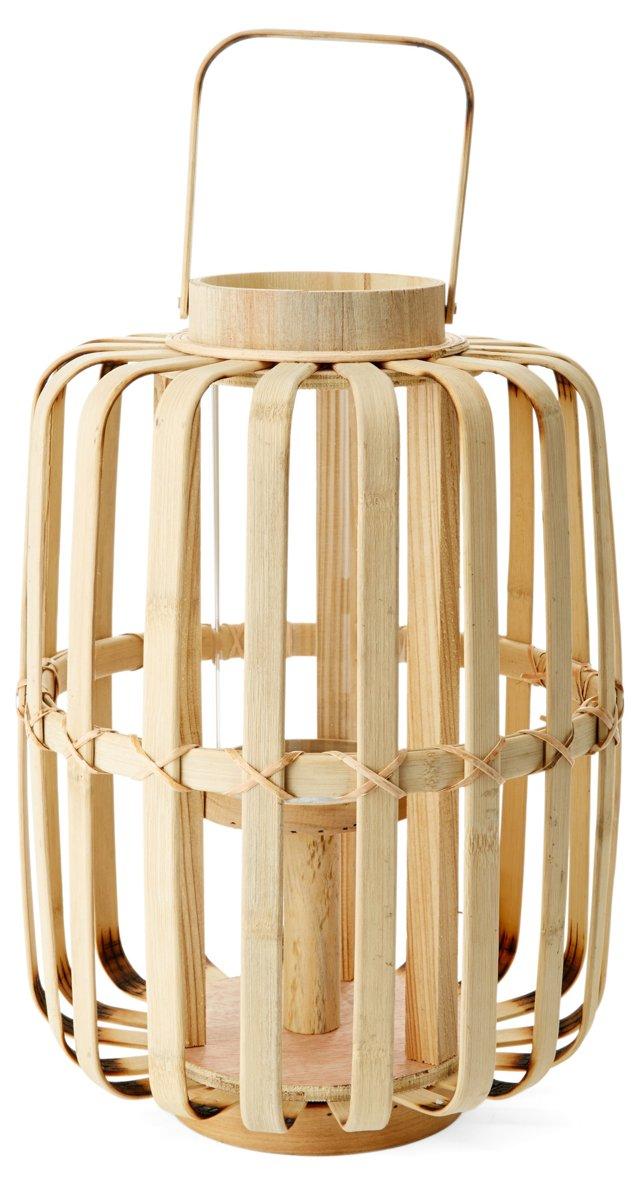 "15"" Bent Bamboo Lantern"