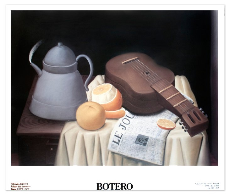 F. Botero, Still Life with Newspaper