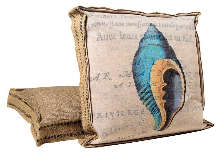 Blue Shell Decorative Pillow