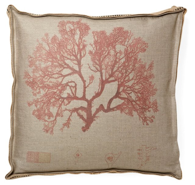 Fiji Coral 1 22x22 Pillow, Red