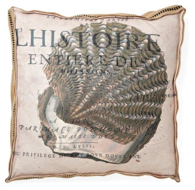 Seychelles Clam  22x22 Pillow, Crème