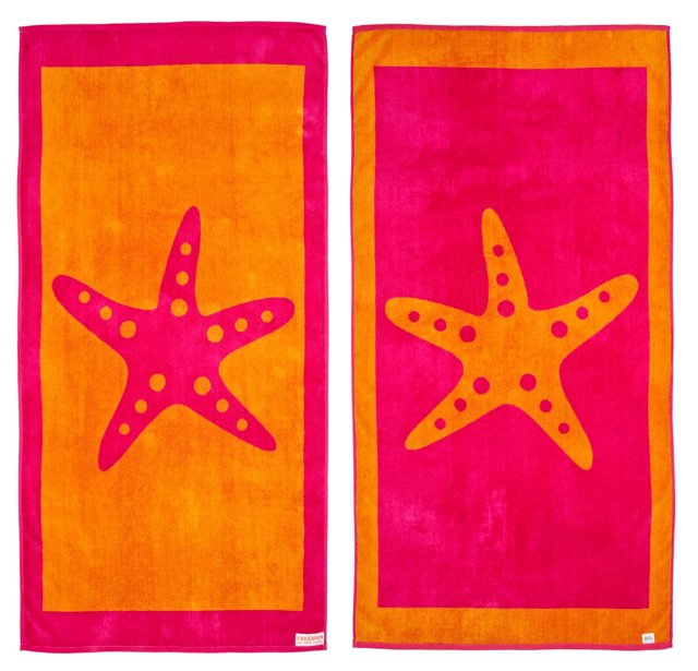 Starfish Beach Towel, Pink/Orange