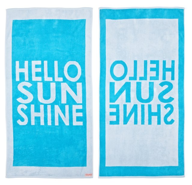 Hello Sunshine Beach Towel, Turquoise