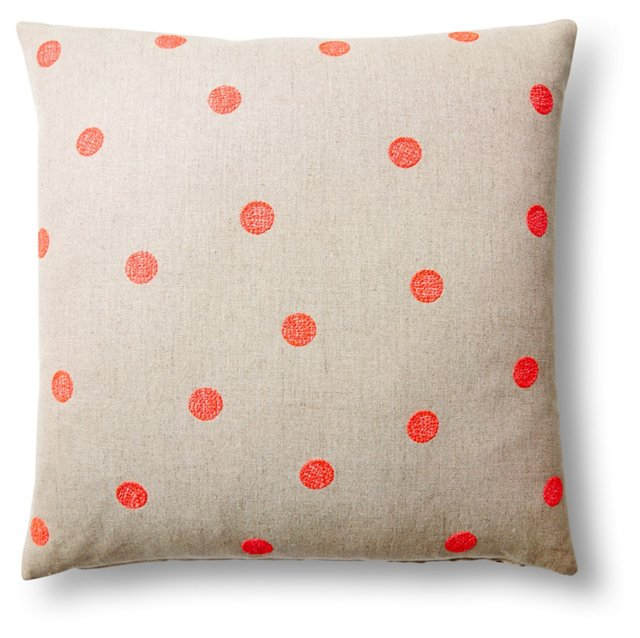 Dots 18x18 Embroidered Pillow, Neon