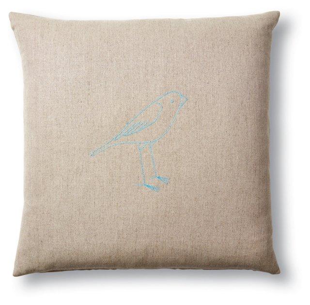 Bird 18x18 Hemp Pillow, Blue
