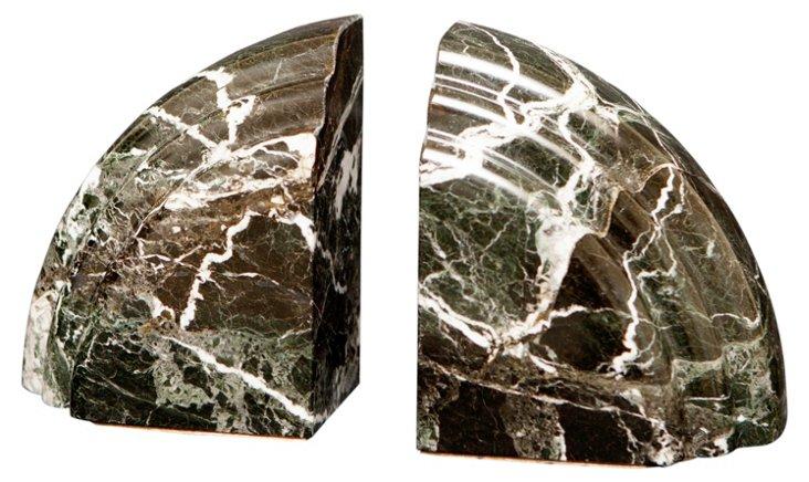 Pair of Cerasus Bookends, Zebra Marble