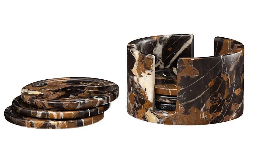 S/6 Traver Coasters, Black/Gold