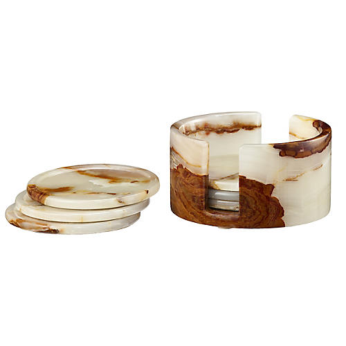 S/6 Traver Coasters, Beige/Brown