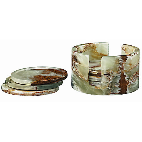 S/6 Traver Coasters, Green/Brown