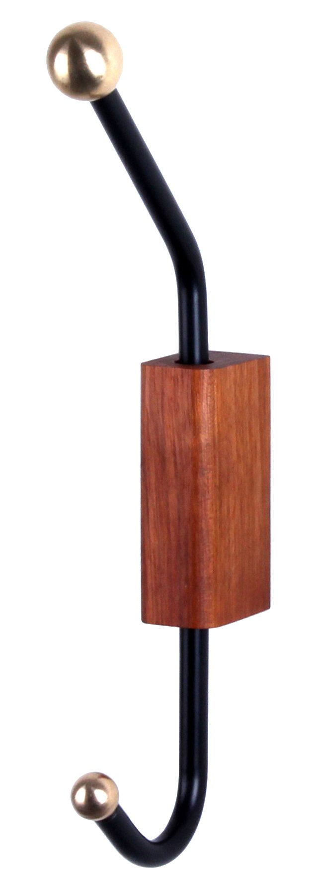 Wood Block Wall Hook, Black