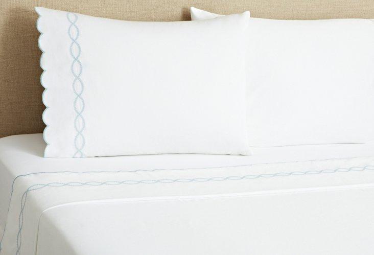 Scallop & Garland Sheet Set, Blue