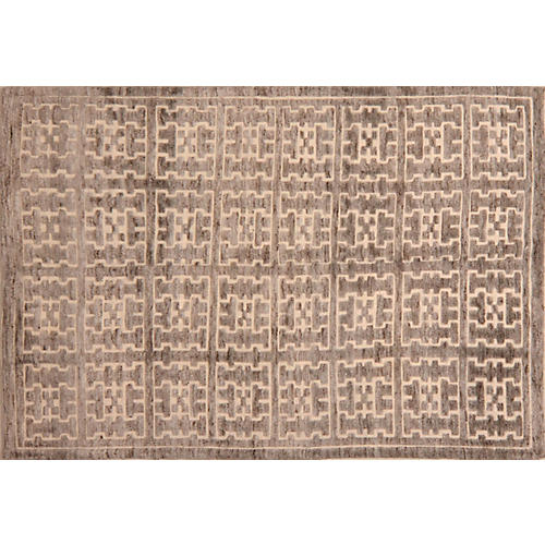 6'x9' Ahmina Hand-Knotted Rug, Brown/Gray