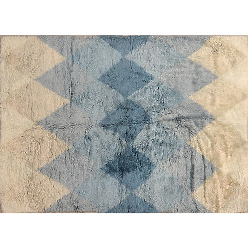 6'x9' Jamila Hand-Knotted Rug, Ivory/Blue