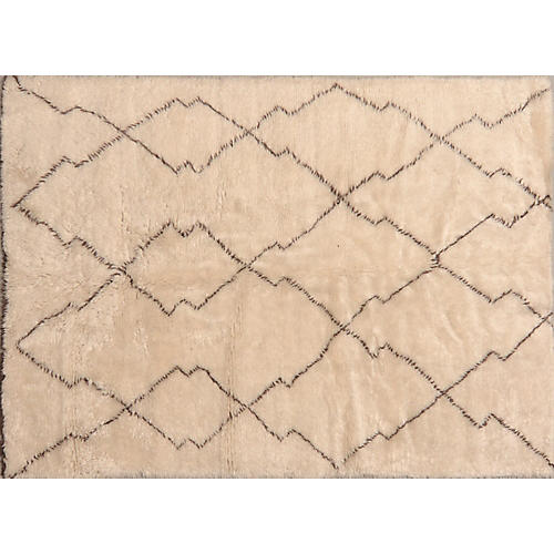 6'x9' Adilah Hand-Knotted Rug, Ivory/Brown