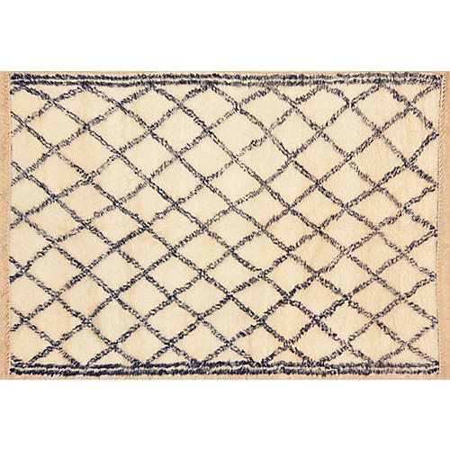 "6'7""x9'3"" Meryem Hand-Knotted Rug, Ivory/Navy"