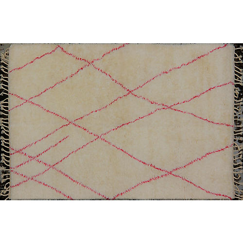 "6'2""x9'2"" Hachim Hand-Knotted Rug, Ivory/Pink"
