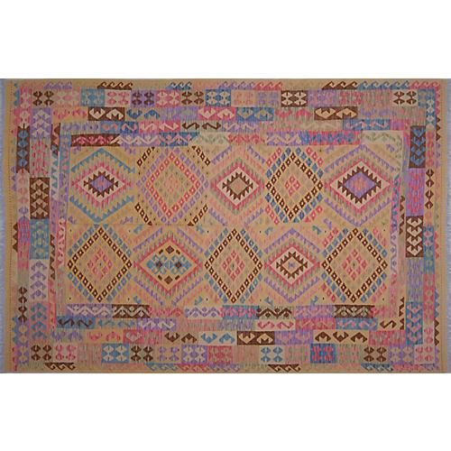 "6'8""x10' Maimana Handwoven Kilim, Purple/Multi"