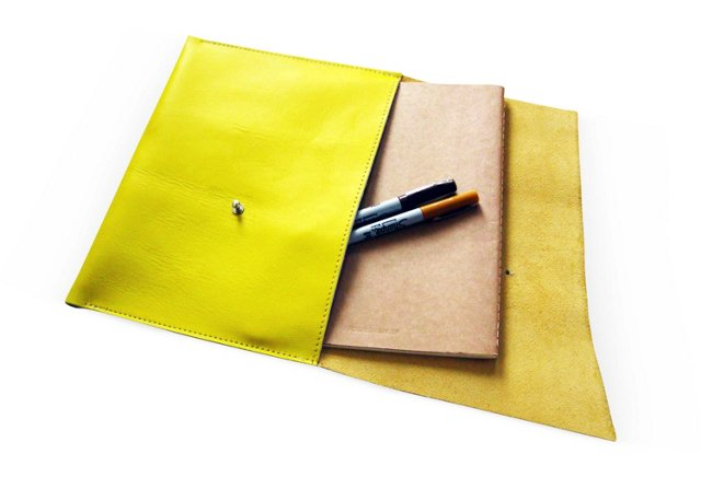 Leather iPad Cover, Lemon Yellow