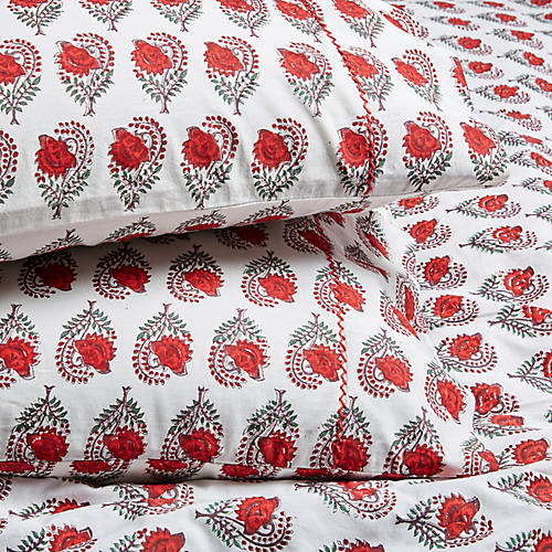 S/2 Ketaki Pillowcases, Soft Red