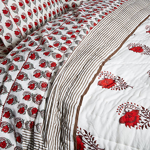 Ketaki Quilt, Soft Red