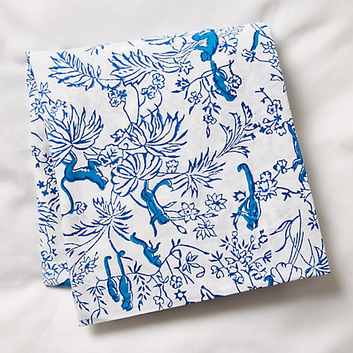 Charlie Fitted Crib Sheet, Bright Blue