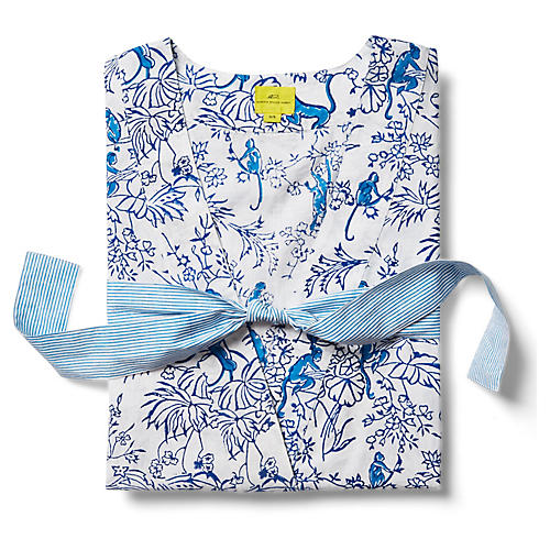 Charlie Short Cotton Kimono, Bright Blue