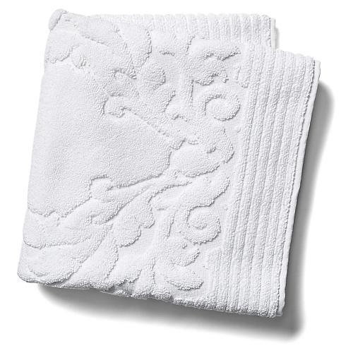 Scroll Hand Towel, White